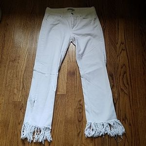 Zara White Fringe Jeans